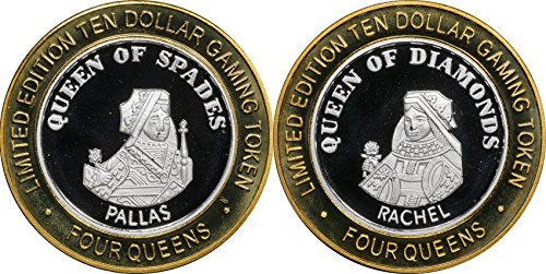 "1990 Era ""FOUR QUEENS"" Ten Dollar 0.999 Silver Casino Strike / Token, Las Vegas, Queen of Spades and Diamnods Uncirculated"