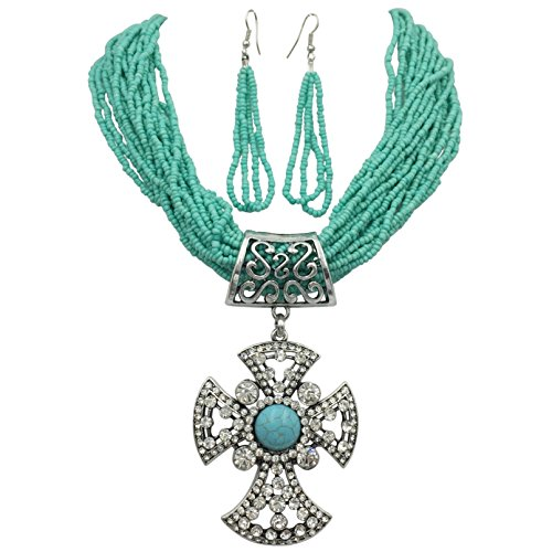 Large Rhinestone Cross Simulated Turquoise Western Look Silver Tone Necklace & Earrings Set (Blue Seed Bead)