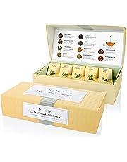 Tea Forte Assortiment de dégustation de thé par Tea Forté, petite boîte de présentation, boîte d'assortiments de thés, 10 infuseurs de thé en forme de pyramide faits main
