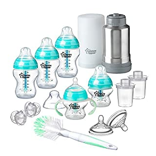 Tommee Tippee Advanced Anti-Colic Newborn Baby Bottle Feeding Gift Set, Heat Sensing Technology, BPA-Free