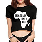 Cujayz1 Women's Girls Sexy Basic Short Sleeve I Bless The Rains Down in Africa-1 Scoop Neck Crop Top Cotton Tees