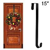 """TQS Wreath Hanger Over The Door - Larger Wreath Metal Hook for Christmas Wreath Front Door Hanger 15"""" Black"""