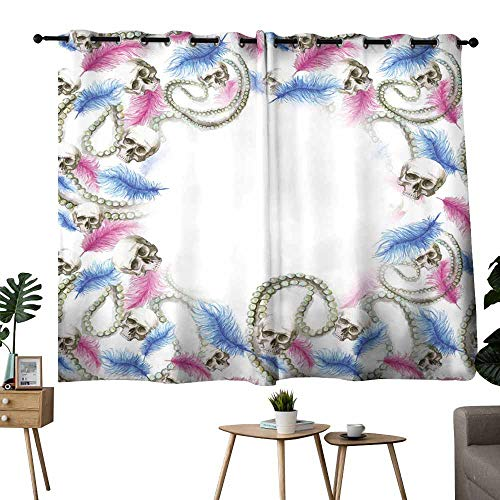 Novel curtains Watercolor-drawing-frame-for-decoration-pattern-human-skull-for-Halloween-with-pearl-decorations-and-ostrich-feathers-of-pink-color-print-for-decor-on-a-white-background for Living, Di for $<!--$46.00-->