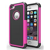 iPhone 6/6s Plus Case,Hankuke Hybrid Dual Layer Full Body Shock Proof Protcetive Armor Defender Cover Case for iPhone 6/6S Plus (5.5 inch screen) - black+red