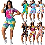 PINSV Women's 2 Piece Outfits Summer Printing