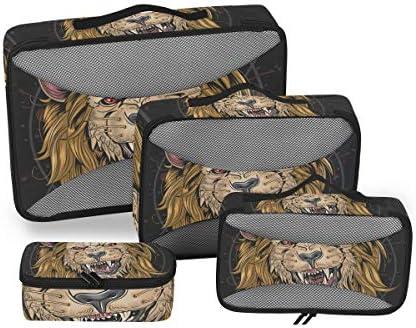 怒っているゴールデンライオン猫キング荷物パッキングキューブオーガナイザートイレタリーランドリーストレージバッグポーチパックキューブ4さまざまなサイズセットトラベルキッズレディース