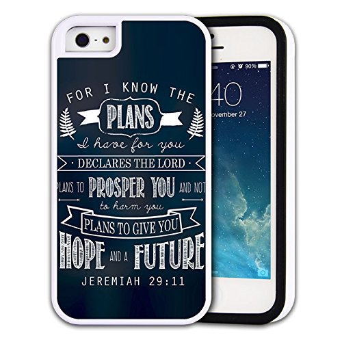 Rugged Rubber 2-layer Hybrid Custom iPhone 5C case, protective skin cover for iPhone 5C Bible Verse Jeremiah 29:11 For I know the plans I have for you Declares the Lord Plans to prosper you and not to