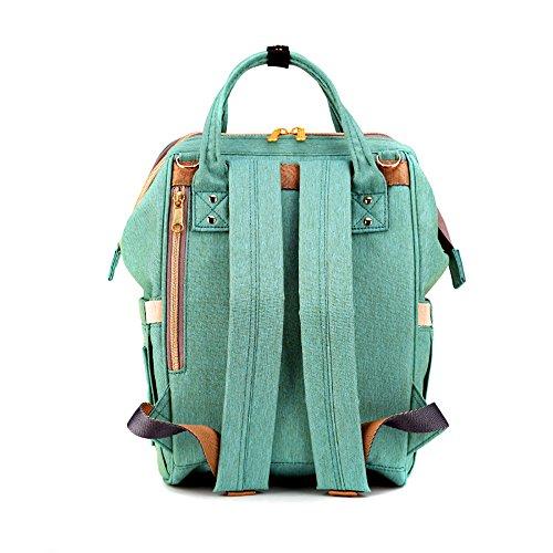 Sunveno impermeable Bolsa cambiadora de pañales Mochila de pañales Organizador de la bolsa de viaje para mamá y papá Con el bolsillo aislado (Naranja rosa) verde