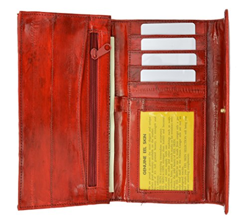 (Womens Eel Skin Leather Deluxe Checkbook Wallet (Red))