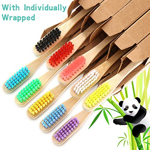 10 Pieces Kids Bamboo Toothbrush Natural Soft Bristle Toothbrush Wooden Toothbrushes Toddlers Adults Natural Wood Organic Toothbrush BPA-Free Color Travel (Adults)