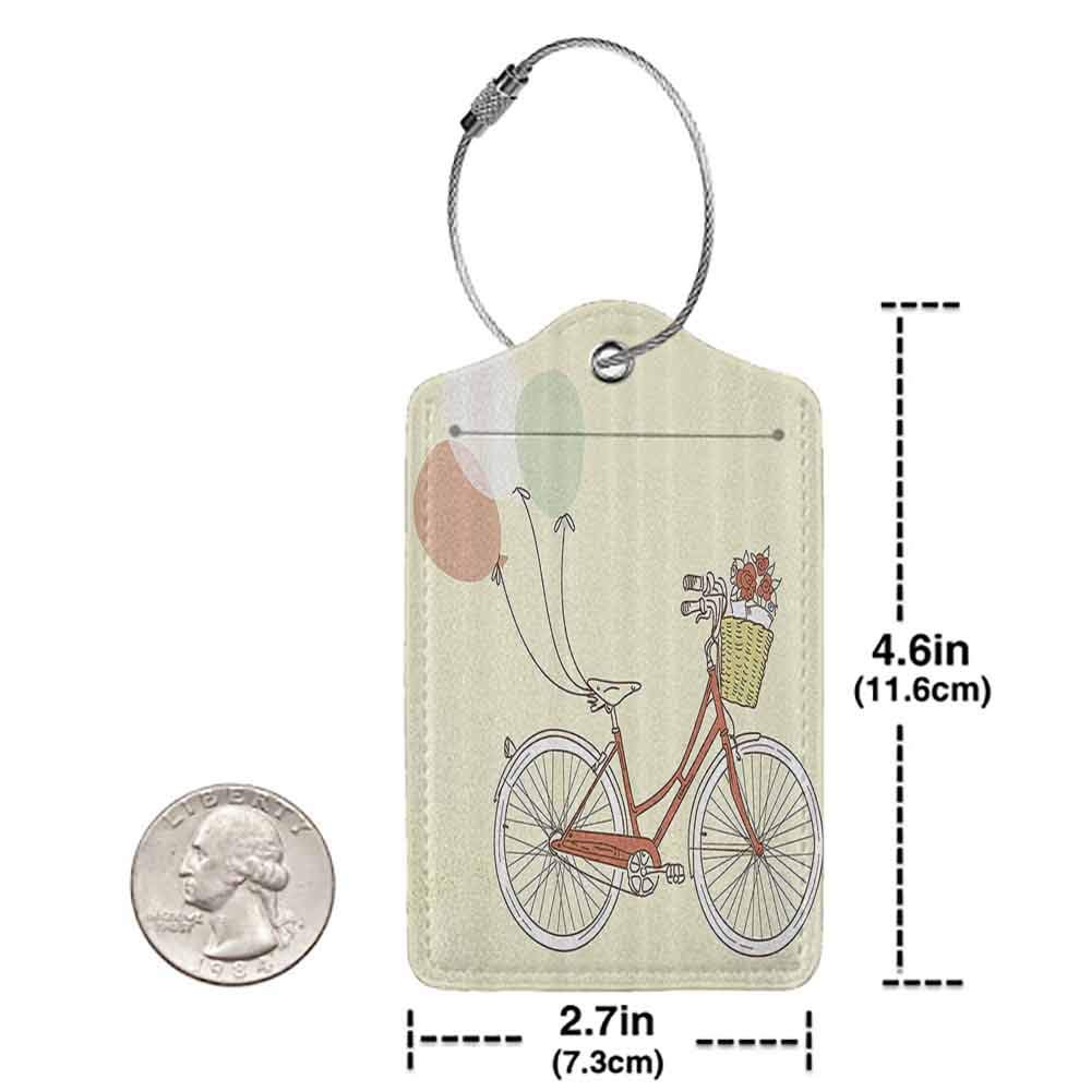 Multicolor luggage tag Romantic Vintage Retro Bicycle Bike with Baloons Basket with Flowers Art Hanging on the suitcase Pink Blue and Egg Shell W2.7 x L4.6