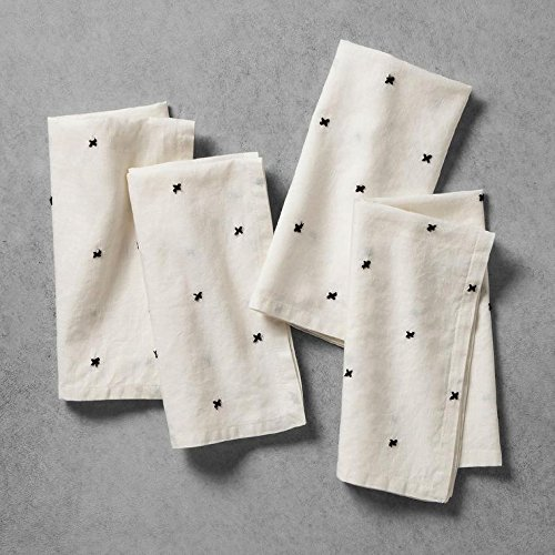 Hearth and Hand with Magnolia Napkins Cream with X Pattern Set of (Magnolia Pattern)