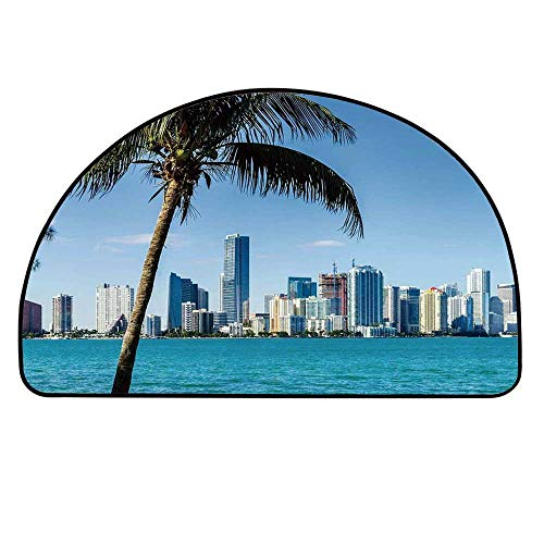 YOLIYANA Coastal Decor Entry Mat Rugs,Miami Downtown with Biscayne Bay Buildings and Palm Tree Panoramic for Front Door,17.7