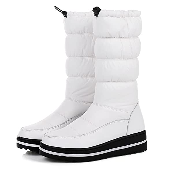 Women Toggle Puff Flat Platform Concise Mid-Calf Snow Boots