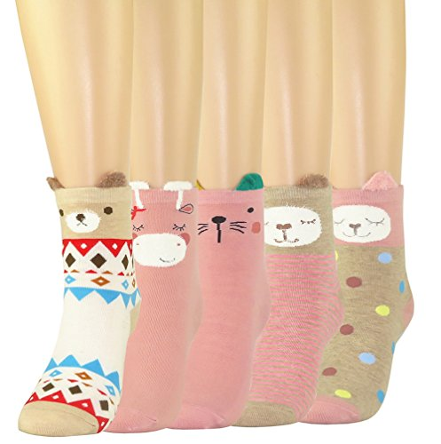 FULIER Women Girl's Funny Cute Animal Design Cotton Rich Socks, Comfortable, Breathable, UK4-7 (Color-5)