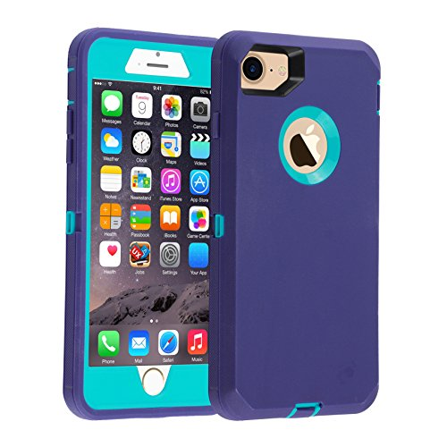 iPhone 7/8 case, [Heavy Duty] Armor 3 in 1 Built-in Screen Protector Rugged Cover Dust-Proof Shockproof Drop-Proof Scratch-Resistant Tough Shell for Apple iPhone 7 4.7 inch Blue