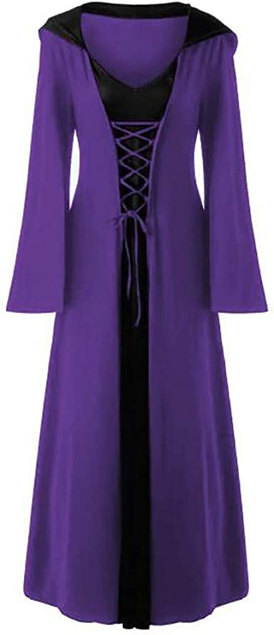 Dwevkeful Vestido Victoriano Mujer Largo Vintage con Capucha para ...