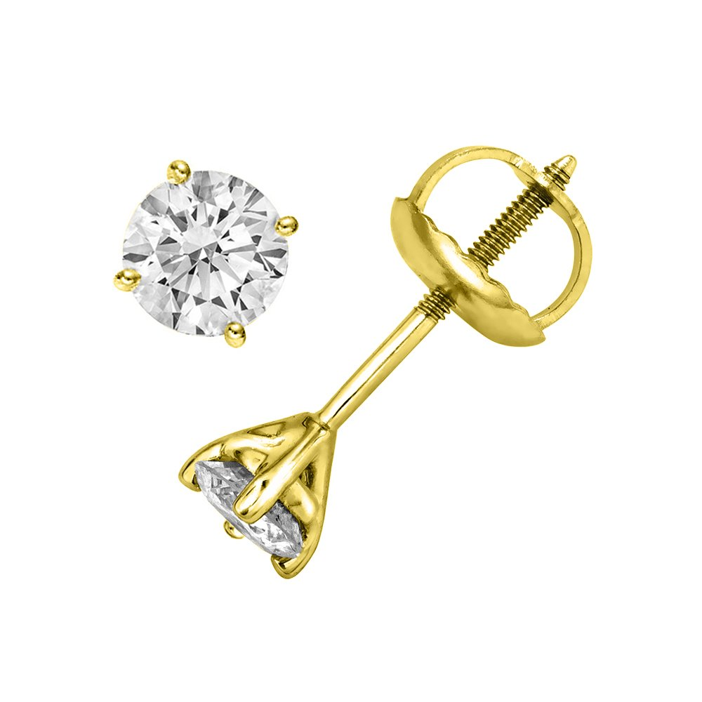 IGI Certified 1/5 cttw Round Cut 14K Yellow Gold Diamond Stud Earrings (G-H Color, I2-I3 Clarity)