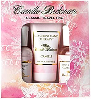 product image for Camille Beckman Classic Collection Travel Trios, Camille, Glycerine Hand Therapy 1.35 oz, Silky Body Cream 2 oz, Hand & Shower Cleansing Gel 2 oz