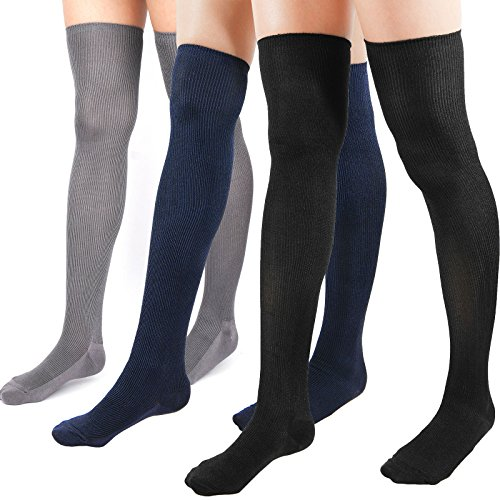 WOWFOOT Women's Rib Over The Knee Thigh High Socks Cotton Opaque Leg warmer Winter Boot Leggings (C-Multi Pack 3pair:Black,Gray,Navy)