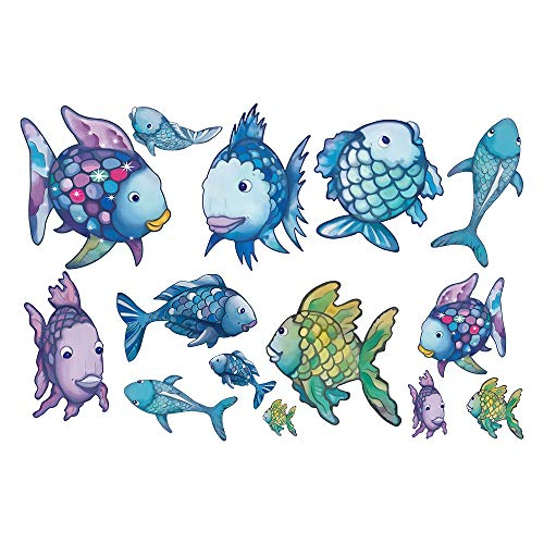 decalmile Rainbow Fish Wall Stickers Ocean Wall Decals Removable Vinyl Wall Decor Murals for Bathroom Nursery Kids Room