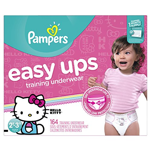 Pampers Easy Ups Training Pants Pull On Disposable Diapers for Girls Size 4 (2T-3T), 164 Count, ONE MONTH SUPPLY by Pampers