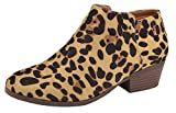 Bella Marie Women's Western Round Toe Chunky Stacked Block Heel Ankle Bootie (10 B(M) US, Leopard)