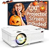 QKK Portable LCD Projector 3500 Brightness [100' Projector Screen Included] Full HD 1080P Supported, Compatible with Smartphone, TV Stick, Games, HDMI, AV, Indoor & Outdoor Projector for Home Theater