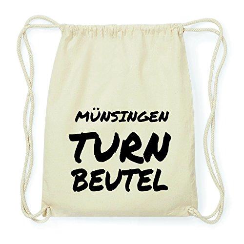 JOllify MÜNSINGEN Hipster Turnbeutel Tasche Rucksack aus Baumwolle - Farbe: natur Design: Turnbeutel