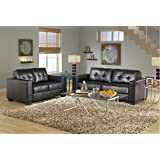 GTU Furniture 2Pc Contemporary Modern Black Pu-Leather Sofa and Loveseat Living Room Set