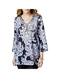 Charter Club Womens Petites Linen Embellished Tunic Top