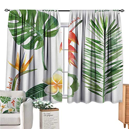Warm Family Plant Curtains for Living Room Bird of Paradise Palm Leaf and Assorted Exotic Flowers Watercolor Coral Earth Yellow Fern Green Drapes Panels W72 x L45