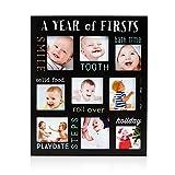 Pearhead Baby's Firsts Chalkboard Style Keepsake Photo Frame, Black