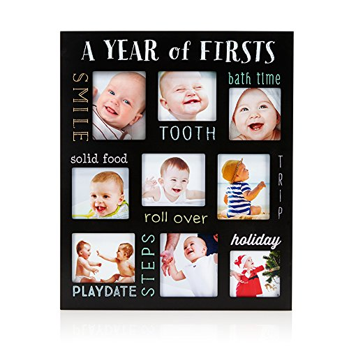 Pearhead Baby's Firsts Keepsake Picture Frame, Display Photos of Your Favorite Moments from Baby's First Tooth to Baby's First Trip, Black (Smile Picture Frame)