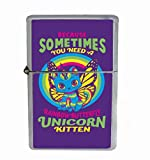 Unicorn Kitten Weird Funny Flip Top Oil Cigarette Lighter