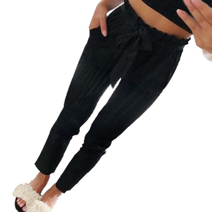 Hose Damen Schwarz Sonnena Mode Hohe Taille Tunnelzug Hose Freizeit  Elastische Taillen Skinny Hosen Beiläufige Haremshose Freizeithose  Businesshose Pants ... cf335a98ef
