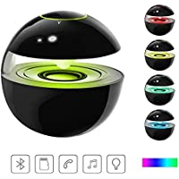 Mini Bluetooth WIreless Speakers ,Sound Music box with LED Lights, Portable Line-In Speaker Touch Button Built-in Microphone Support Micro TF card for iPhone Gift for Valentines Day-Black