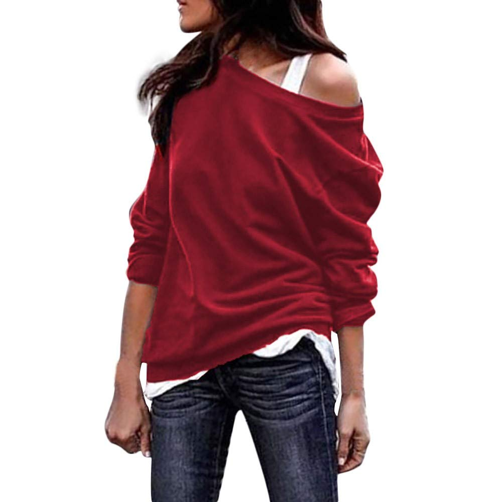 Ulanda Women's Long Sleeve Sweater Casual Oversized Baggy Off Shoulder Shirts Pullover Tops Blouse