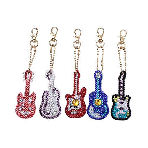 Fan-Ling DIY Special Shape Full Diamond Diamond Pattern Key Ring Set,Multicolor Diamond Embroidery Key Chain,Cell Phone Chain, Resin Rhinestones Pendant Holder (E:5PCS-Guitar)