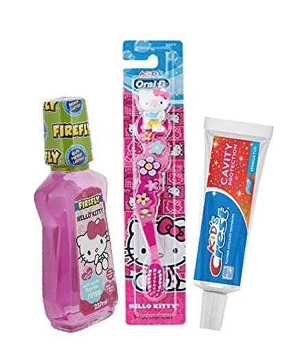 Children's Dental Care Bundle: Hello Kitty Mouthwash, Crest Toothpaste and Hello Kitty Toothbrush with Free Hello Kitty Tote ()