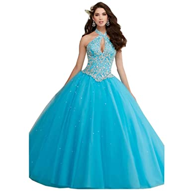 584c9ae4842 DingDingMail Coral Quinceanera Dresses Ball Gowns Halter Crystals Beaded  Backless Princess Wedding Dresses Bridal Gowns Blue