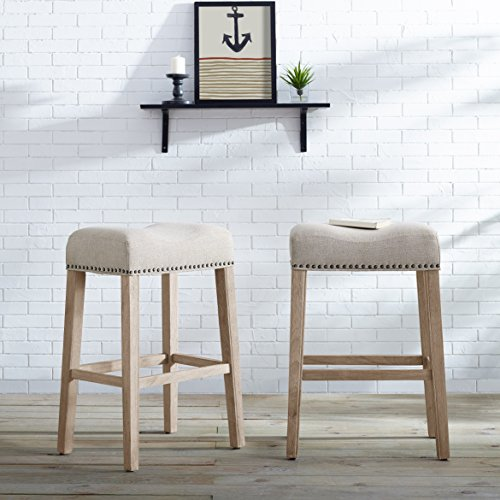 Roundhill Furniture Coco Upholstered Backless Saddle Seat Bar Stools 29 Height, Set of 2, Tan
