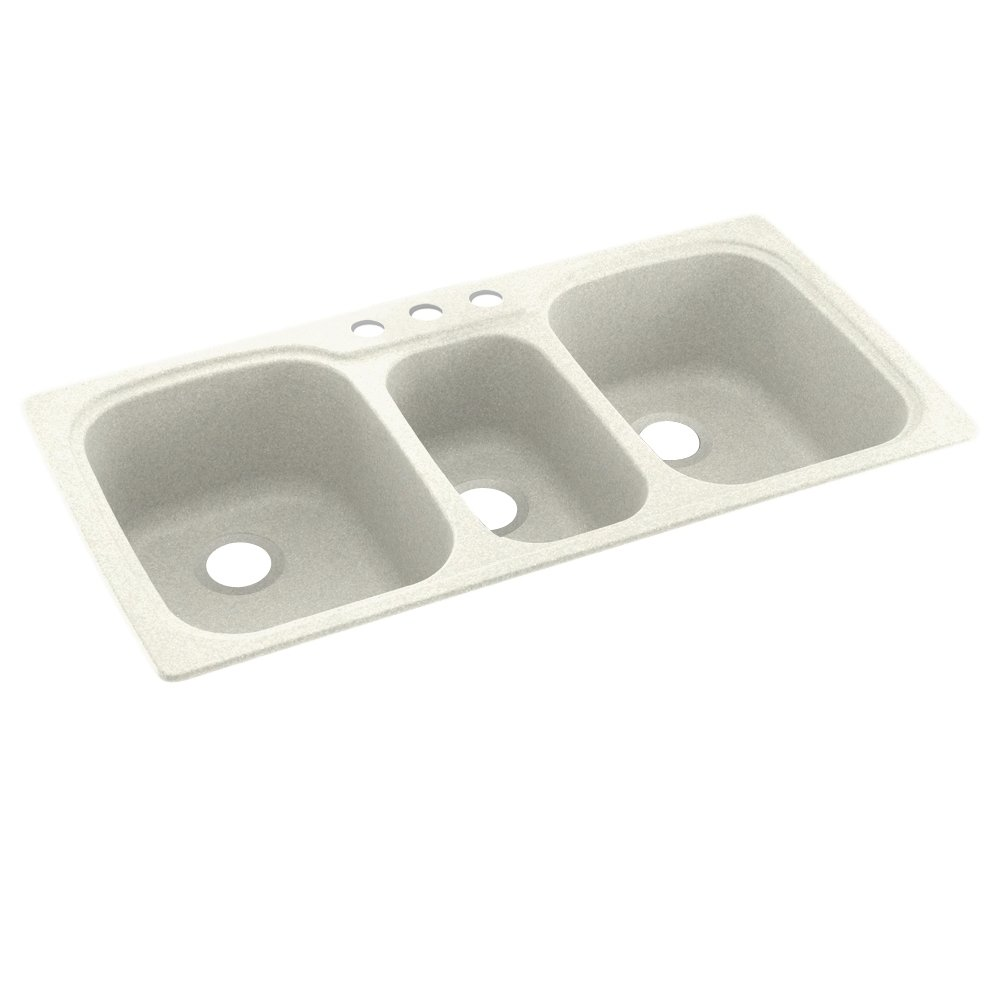 Swanstone KS04422TB.018-3 3-Hole Solid Surface Kitchen Sink, 44'' x 22'', Bisque by Swanstone
