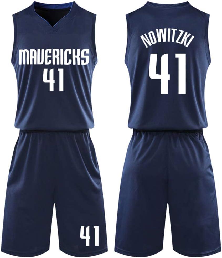 Dallas Mavericks Dirk Nowitzki # 41Jersey Shorts f/ür Kinder Jugend M/änner Unisex klassisches /ärmelloses Set Mavericks No.41 Jersey Damen Mesh Suit Basketball Jersey