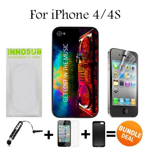Get Los in Music EDM Custom iPhone 4 Cases/4S Cases-Black-Plastic,Bundle 3in1 Comes with HD Screen Protector/Universal Stylus Pen by innosub