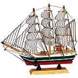 JaipurCrafts Decorative Sailing Ship Showpiece - 16 cm (Wood, Paper, Multicolor)