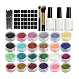 24 Color Glitter Temporary Body Art Cosmetics Tattoo Powder Component Set