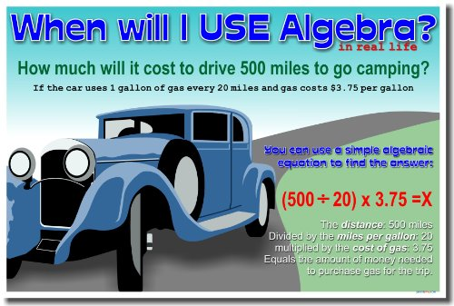 When Will I Use Algebra in Real Life?  Poster
