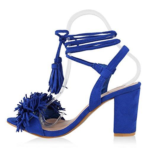 Stiefelparadies Damen Sandaletten Quasten Blockabsatz Sandalen Sommerschuhe Wildleder-Optik Schaftsandaletten Schnürungen Fransen Nieten Lack Schuhe Flandell Blau