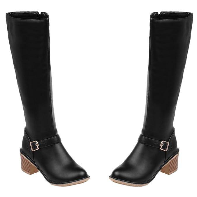 Damen Halbschaft Stiefel Matt Kitten Chunky Reißverschluss Knie hoch Reitstiefel Kaffee 37 EU HooH 2X9cc4f